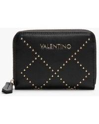 Valentino By Mario Valentino Mandolino Black Studded Zip Around Coin Purse