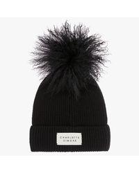 Charlotte Simone Bonnie Black Cashmere Pom Pom Beanie Hat