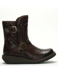 Fly London - Sven Dark Brown Leather Low Wedge Buckled Ankle Boots - Lyst
