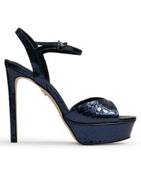 Lola Cruz Louth Navy Metallic Leather Reptile Platform Sandals - Blue