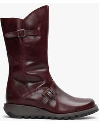 Fly London Mes Ii Purple Leather Low Wedge Calf Boots