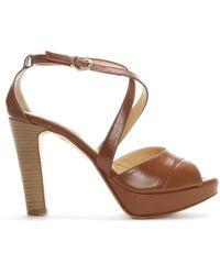 Donna Più | Tan Leather Strappy Platform Sandals | Lyst