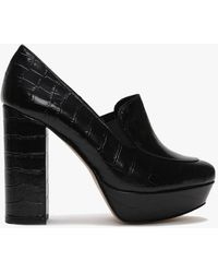 Daniel Ajuppiter Black Leather Reptile Platform Court Shoes