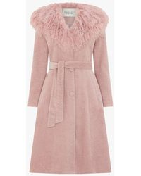 Charlotte Simone Connie Pink Cord Mongolian Collar Trench Coat