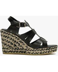 Daniel Isley Black Leather Jute Wedge Sandals