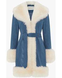 Charlotte Simone Star Blue Shearling Collar Trench Coat