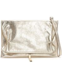 Daniel - Match Large Gold Leather Ruched Clutch Bag - Lyst