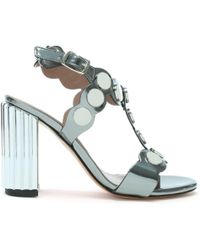 Albano - Sunbury Pewter Metallic Leather Studded Sandals - Lyst