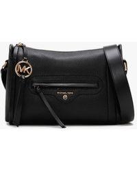 Michael Kors Large Carine Black Pebbled Leather Cross-body Bag