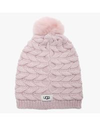 UGG Cable Pink Crystal Wool Mix Pom Hat