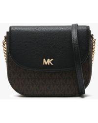 Michael Kors Mott Half Dome Brown & Black Pebbled Leather & Logo Cross-body Bag