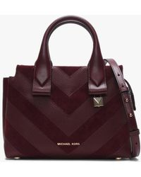 Michael Kors - Small Rollins Oxblood Leather & Suede Chevron Satchel Bag - Lyst