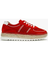 Daniel Ivy Red Suede Perforated Espadrille Sneakers