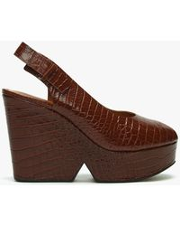 Robert Clergerie Always Brown Leather Reptile Chunky Platform Sandals