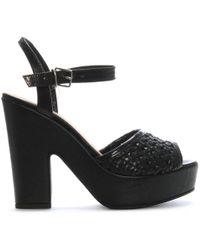 Donna Più - Black Leather Woven Platform Sandals - Lyst