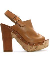 Donna Più - Tan Leather Studded Platform Sandals - Lyst