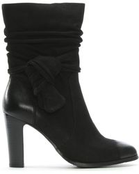 Moda In Pelle - Peretta Black Leather Knotted Bow Calf Boots - Lyst