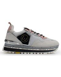 Liu Jo Maxi Alexa White Suede & Metallic Mesh Glitter Sneakers