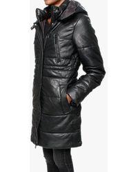 Oakwood Blitz Black Leather Quilted Long Line Coat