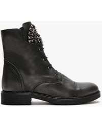 Daniel Encrust Pewter Leather Embellished Ankle Boots - Black