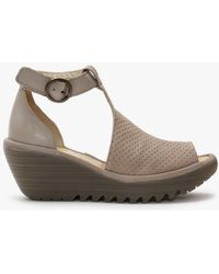 Fly London Yall Cloud Leather Perforated Wedge T-bar Sandals - Grey