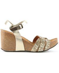 Daniel - Beverlywood Gold Leather Glitter Wedge Sandal - Lyst