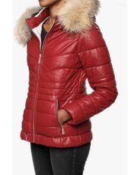 Oakwood Jam Red Leather Fur Trim Hooded Jacket
