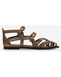 See By Chloé Katie Bronze Leather Woven Gladiator Sandals - Brown