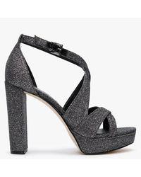 Michael Kors Lorene Black Glitter Platform Sandals