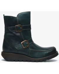 Fly London Sann Petrol Leather Double Buckle Low Wedge Ankle Boots - Green