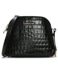 c05530f418d7 Michael Kors - Mercer Black Moc Croc Leather Dome Messenger Bag - Lyst