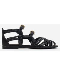 See By Chloé Katie Black Leather Woven Gladiator Sandals