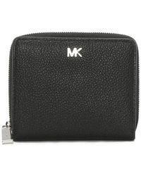 Michael Kors - Snap Black Pebbled Leather Wallet - Lyst