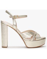 Daniel Avery Gold Leather Platform Heeled Sandals - Metallic