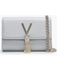 Valentino By Mario Valentino - Divina Grey Pebbled Shoulder Bag - Lyst