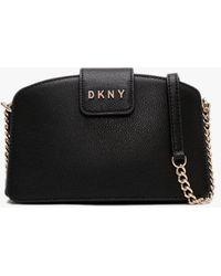 DKNY Clara Black Pebbled Leather Chain Strap Cross-body Bag