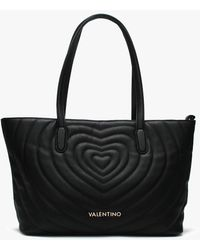 Valentino By Mario Valentino Fiona Black Quilted Heart Tote Bag