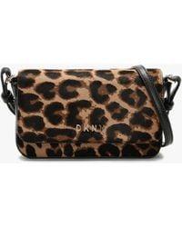 DKNY Demi Flap Leopard Leather Cross-body Bag - Black