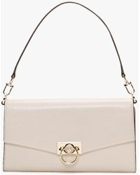 Michael Kors Large Hendrix Light Cream Leather Pochette - Natural