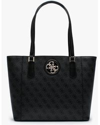 Guess Open Road Repeat Logo Grey Tote Bag - Black