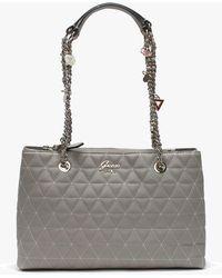 238fca765460 Guess - Fleur Grey Quilted Shoulder Bag - Lyst
