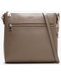 DKNY Bryant Dun Leather Top Zip Satchel Bag - Natural