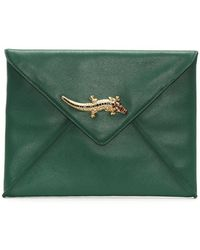 Class Roberto Cavalli - Mademoiselle Green Leather Envelope Clutch Bag - Lyst