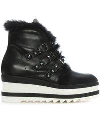 Daniel - Ilaila Black Leather Fur Trim Cleated Flatform Ankle Boots - Lyst