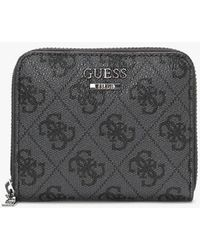Guess Small Noelle Repeat Logo Coal Zip Around Wallet - Multicolour