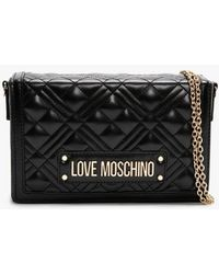 Love Moschino Quilted Studded Logo Black Clutch Bag