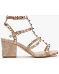 Moda In Pelle Mima Rose Gold Studded Block Heel Sandals - Metallic