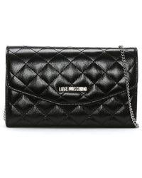 357d74771ada Love Moschino - Lou Black Patent Cross-body Bag - Lyst