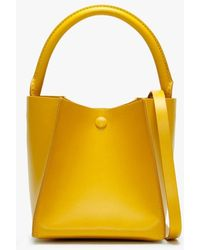 Sophie Hulme Nano Cube Yellow Leather Shoulder Bag