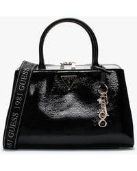 Guess Maddy Girlfriend Black Patent Satchel Bag